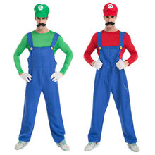 Vocole Adult Mens Luigi Super Mario Brothers Cosplay Costumes With Hat Beard Plumber
