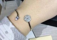 Pure 925 Sterling Silver Jewelry hollow camellia bangle For Women Wedding zircon party flower bracelet luxury brand jewelry