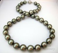 Tahitian Cultured Pearl 10mm 18KWG Necklace 18 Top Grade NR Aa A Good
