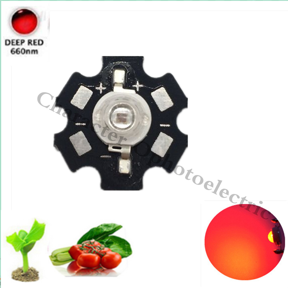 10 20 50 100 pcs/lot High Power LED Chip Full Spectrum Grow Royal Deep Red 660nm 1W 3W 2.4-2.8V 500-700ma DIY Light 660 nm Plant