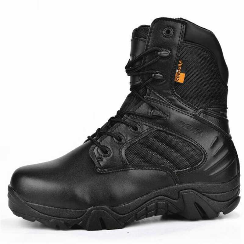 Kış Erkekler Delta Askeri Bot Özel Kuvvet Su Geçirmez Taktik Çöl Savaş Ayak Bileği Botları Ordu iş ayakkabısı Deri Güvenlik Botları