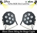 Free Shipping 2Pcs/lots   7x9w led Par lights  RGB 3in1 flat par led dmx512  disco lights professional stage dj equipment
