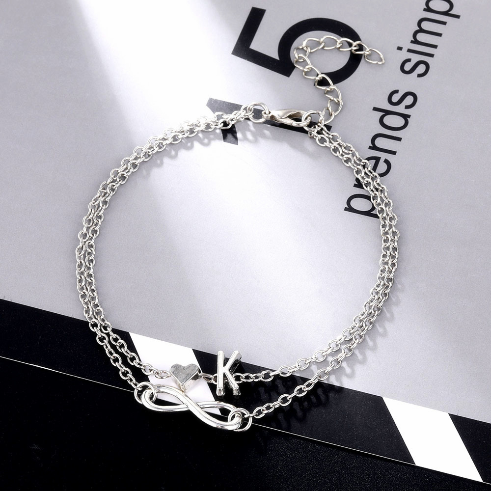 Vintage Heart Anklet Bohemian Letter Ankle Bracelet for Women Multilayer Infinity Barefoot Sandals Foot Jewelry Leg Chain