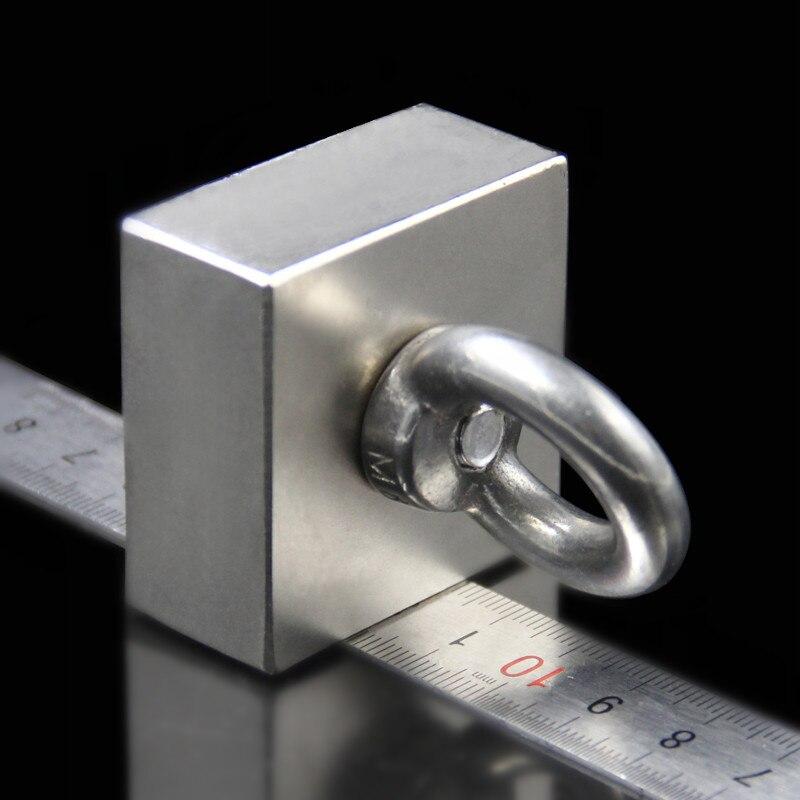 Super Leistungsstarke Starke Seltenen Erden block loch magnet Neodym N52 Magneten 50*50*25mm (45x45x21mm)