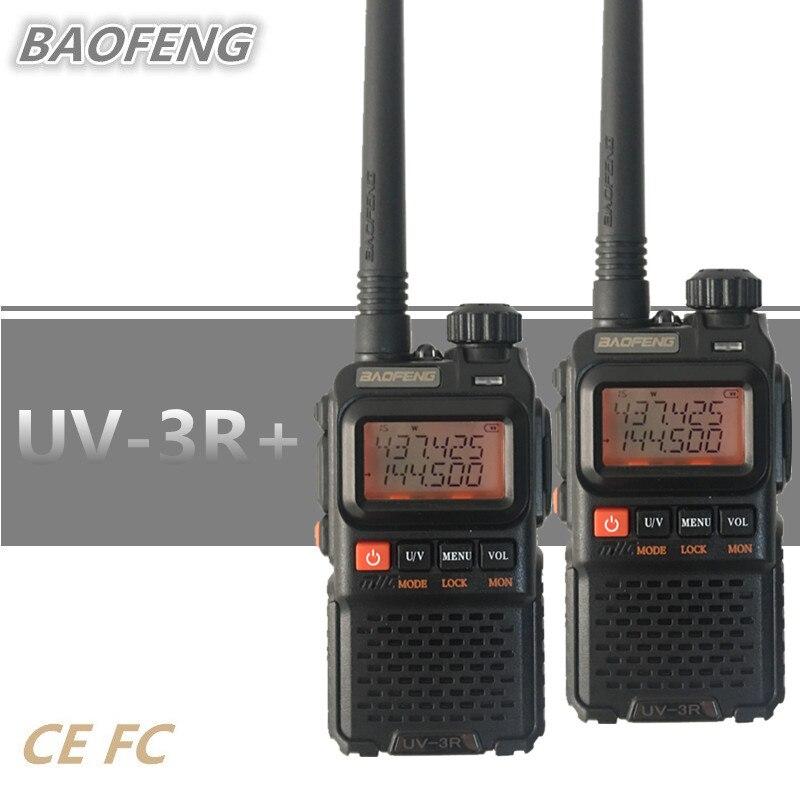 2PCS Baofeng UV 3R PLUS Mini Walkie Talkie Portable UHF VHF HF Mobile Radio Transceiver UV3R