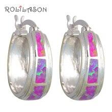 Rolilason Свадебные Серьги-кольца для Для женщин очаровательный фиолетовый огненный опал Серебро Печатью на день рождения giffts Модные украшения OES590