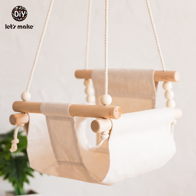 HTB1mkW5XKbviK0jSZFNq6yApXXan Let's Make Baby Swings Canvas Hanging Chair 13-24 Months Hanging Toys Hammock Safety Baby Bouncer Indoor Wooden Swing Rocker