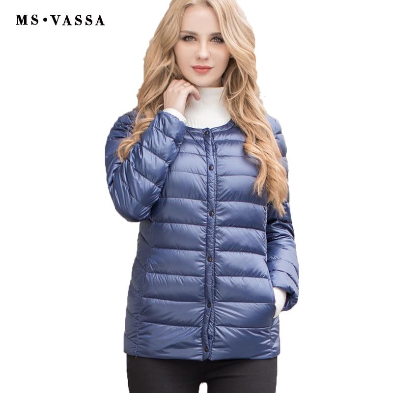 MS VASSA Women down jacket 2017 New Spring Winter ladies light down coat round neck quilting jacket plus size 5XL 6XL outerwear 2017 winter new ladies down jacket