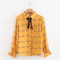 Cute Dachshund Print Women Blouse Girls Preppy Style Shirt Turn Down Collar Bowtie Flare Sleeve Spring
