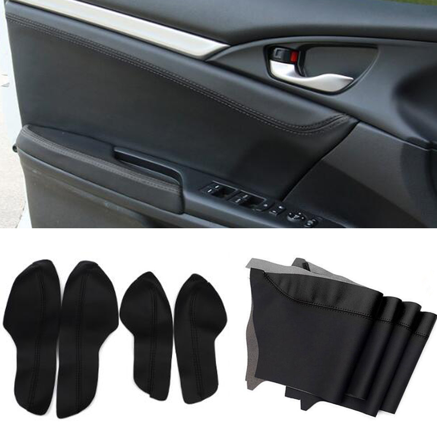 Car Interior PU Leather Door Armrest Panel Cover Waterproof Shell Surface Styling Accessories Trim For Honda Civic 10th 16 17