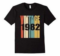 Custom Tee Shirts Crew Neck Men Short Sleeve Christmas Retro Vintage 1982 T Shirt 36 Yrs