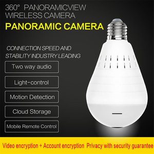 Image 3 - Home Surveillance Kamera IP Kamera 1080P LED Ligh Drahtlose Panorama Fisheye Birne Lampe WIFI Kamera 360 Grad WiFi CCTV cam