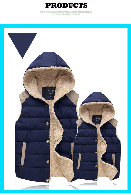 New Winter Cotton Vest For Men Women Plus Velvet Solid Color Hooded Vest Thick Warm Men's Fashion Solid Male Sleeveless Jacket