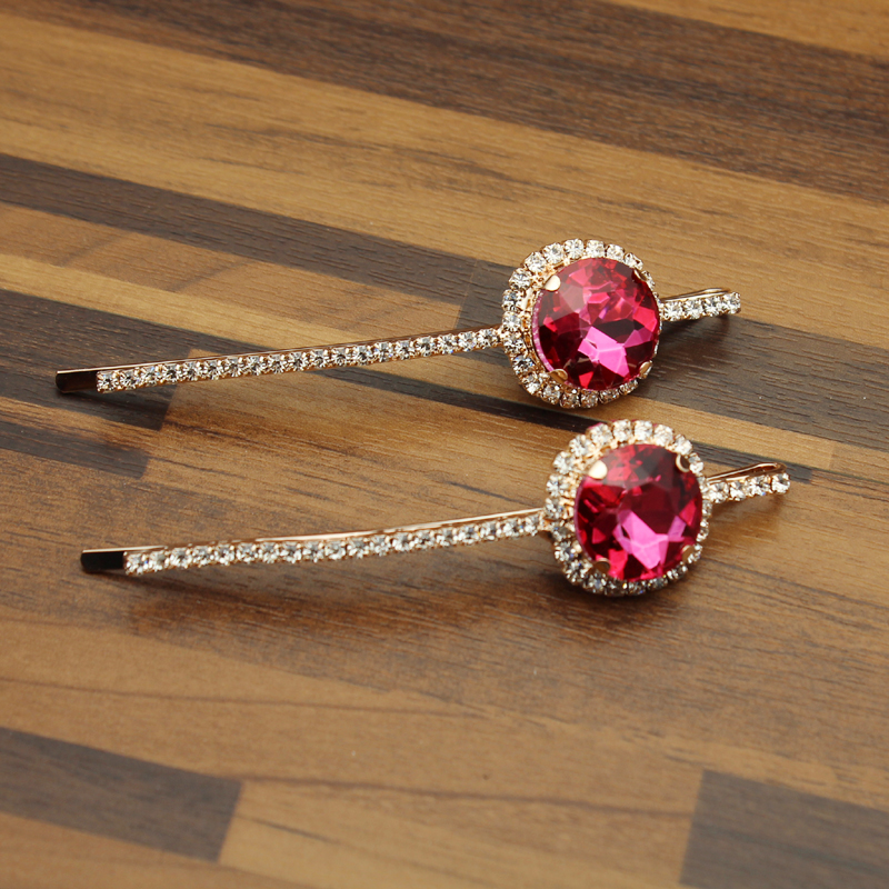 Aliexpress.com   Buy 1 Pair FirstStar Luxury Hot Fashion Head Jewelry Round Rhinestone  Hair Barrette Pink Crystal Hair Clip Slide For Women Girls from ... afb11cf8adbf