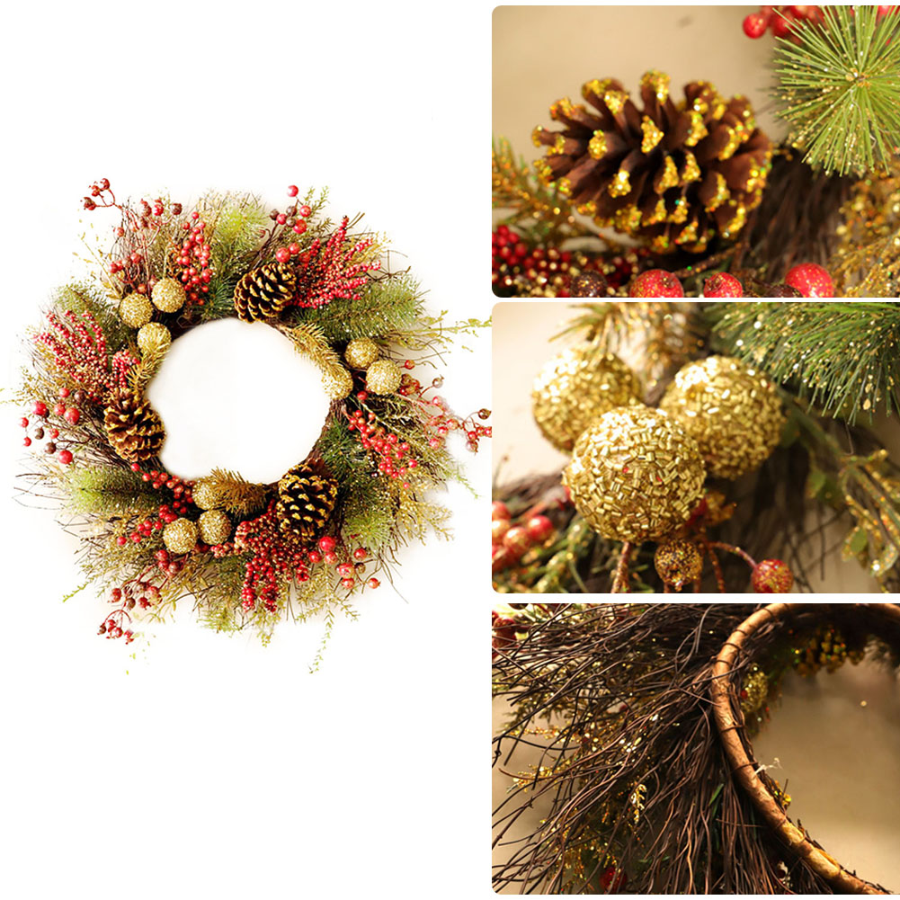Us 16 37 27 Off Christmas Wreath Door Hanging Artificial Plant Rattan Circle Wall Decoration Simulation Fake Flower Wedding Garland Ornament In