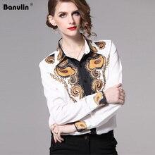 Banulin Women Fashion Print Shirt High Quality Full Sleeve Elegant Party Vintage Female Casual OL Style Office Blouse B1902