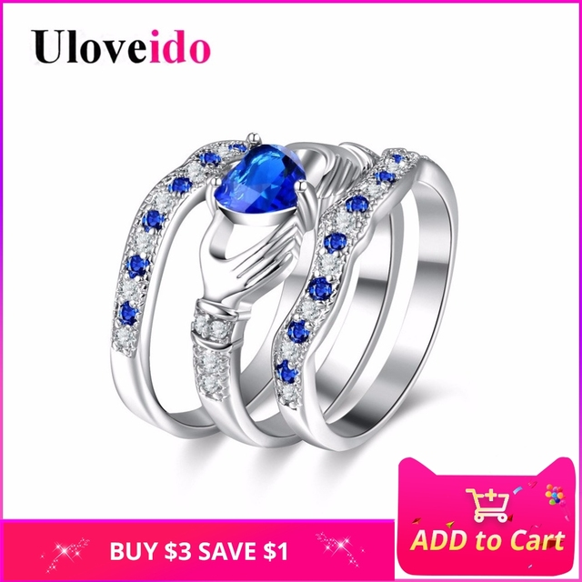 Uloveido Engagement 3 Piece Set Rings for Women Cubic Zirconia Bridal Blue Heart