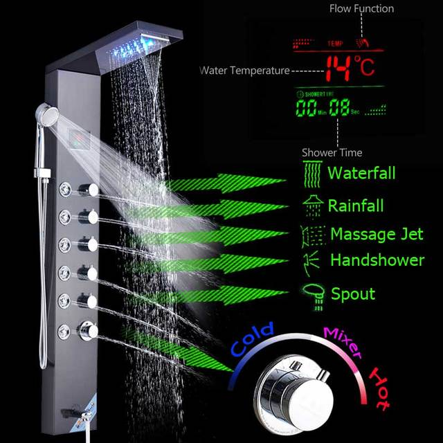 Black LED Shower Panel Stainless Steel Wall Mounted Shower Column System Temperature Digital Screen Rotate Massage Sprayer Jets