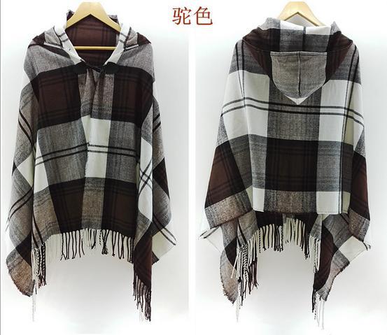 Большие шарфы, зимний шарф, Кашемировое пончо, Женская богемная шаль, шарф, племенная бахрома, толстовки, одеяла, накидка, шаль, пончо и накидки - Цвет: 1