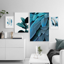 NUOMEGE Nordic Minimalism Abstract Feather Leaves Frameless Painting Decorative Painting Modern Home Decoration Wall Decor