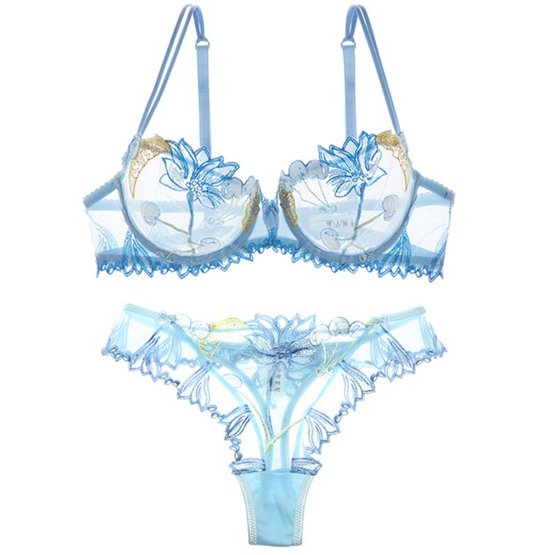 Embroidered mesh yarn ultra-thin sexy allure hollowed-out sponge bra bra set t-pant women