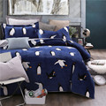 4Pcs Thick Fleece Cute Penguin Mickey  Bedding set  King Queen Size Winter Warm Bed set Duvet cover set Bedsheet Pillowcases