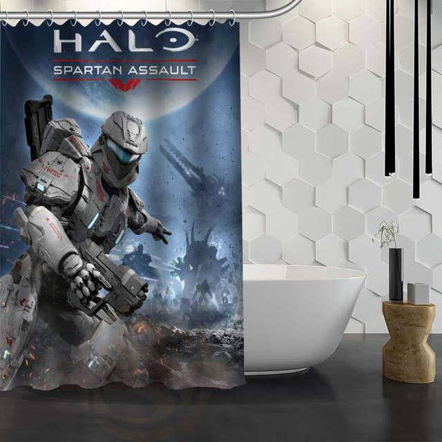 Hot Sale Custom Halo Shower Curtain Waterproof Fabric Bath For Bathroom FY1