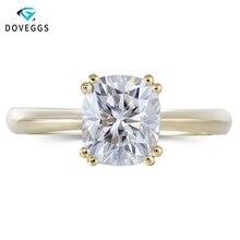 DovEggs Classic 14K Yellow Gold 2ct 7*8mm F Color Engagement Ring for Women Wedding Gift Ladies Moissanite Diamond Ring цена в Москве и Питере