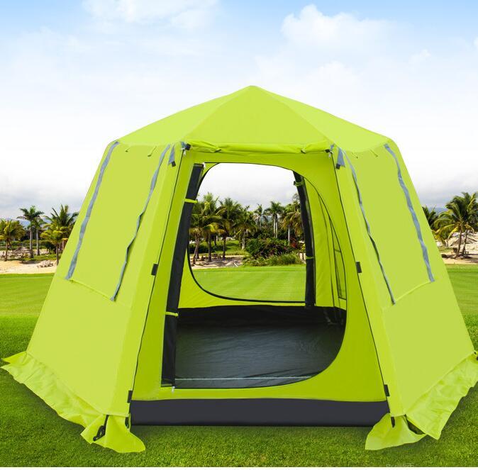 Chameau 3-4 personne hexagonale automatique aluminium famille Pergola randonnée partie auvent auto conduite voiture abri extérieur Camping tente