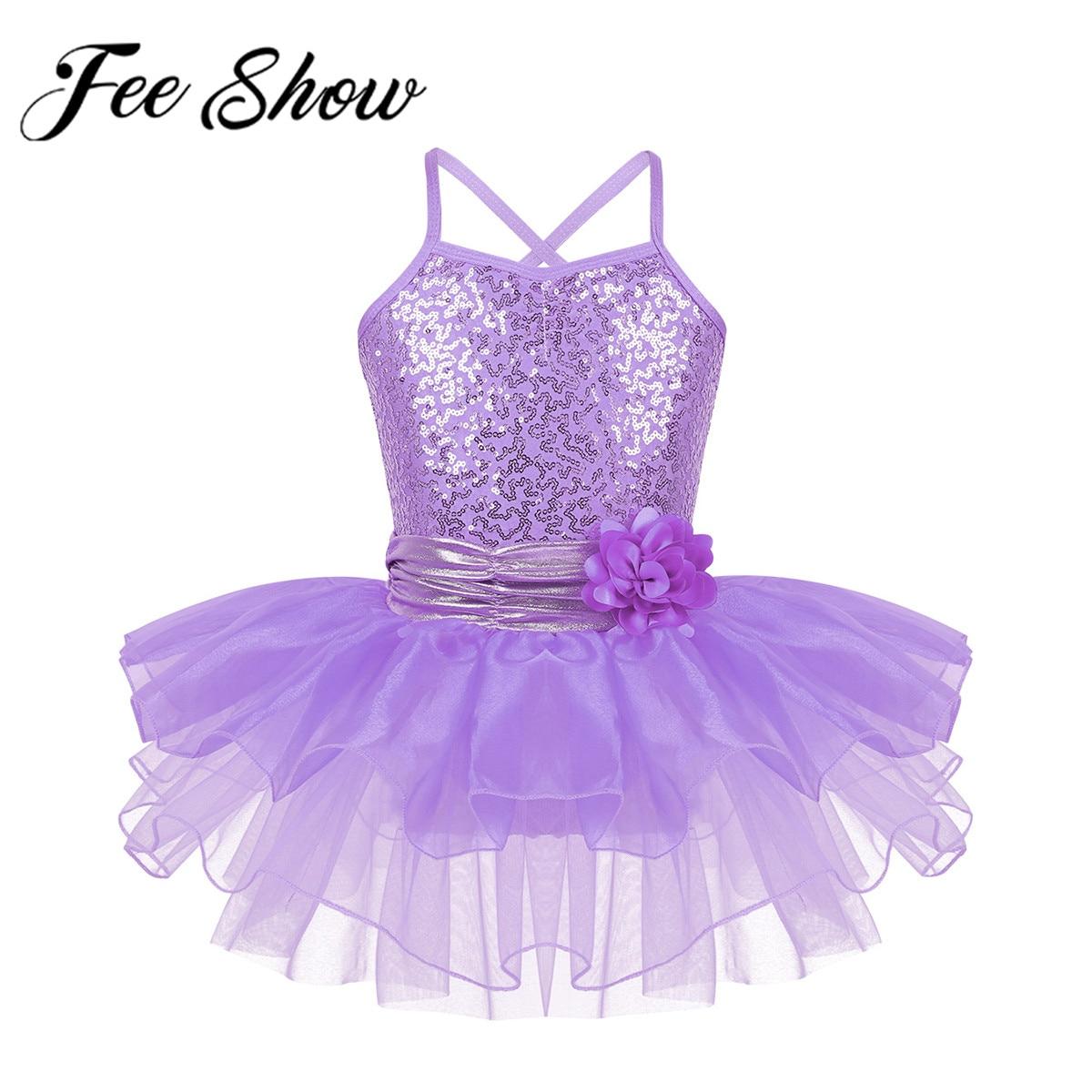 Girls Ballet Dress kids Gymnastics Leotards Tutu Skirt Dance Wear Party Costume