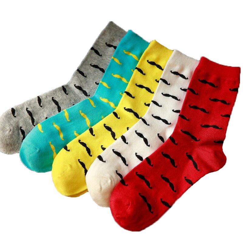 Colorful Mustache Happy Socks Young Men Beard Socks Oddness Sox Blue White Gray