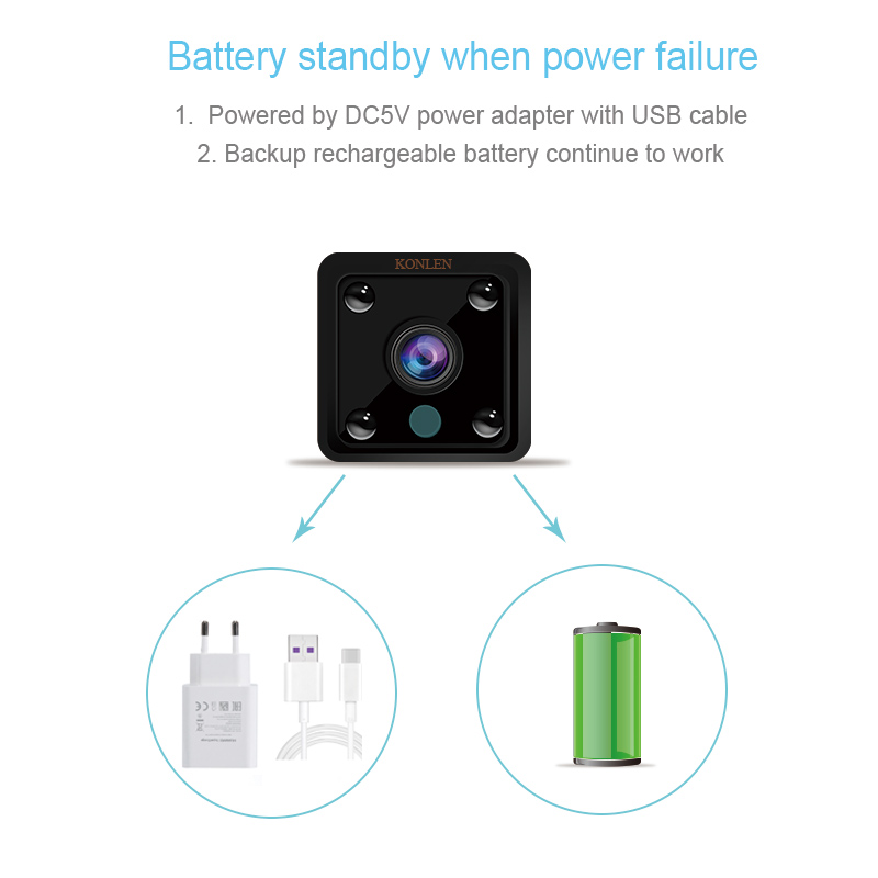 Image 3 - KONLEN Small Mini Wifi Camera IP Wireless Battery 1080P HD P2P Video CCTV Nanny Body Cam SD Home Security World Vision Monitor-in Surveillance Cameras from Security & Protection
