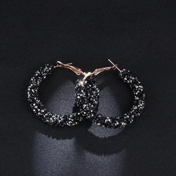 Women's Stylish Hoop Earrings with Colorful Crystals Earrings Jewelry Women Jewelry Metal Color: C1073-BALCK