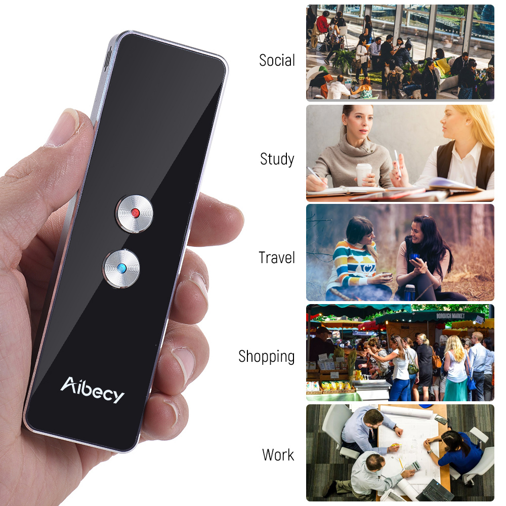 Aibecy Smart Multi Language Translator Real-time Speech Text Translation Device with APP for Business Travel Shopping English   суппорты и аксессуары all 4pcs 3d brembo