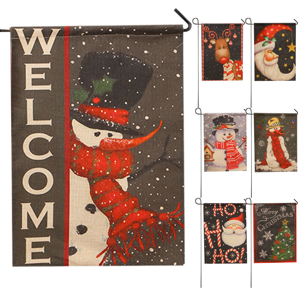 32*46cm Flax Garden Flag Santa Claus decorative banner Indoor ...