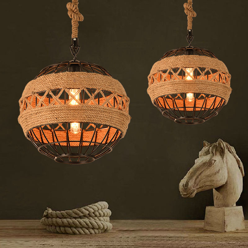 Countryside Loft Style Rope Pendant Light Vintage Bar Decoration Light Cafe Light Retro Light With Edison Bulbs Free Shipping loft vintage edison glass light ceiling lamp cafe dining bar club aisle t300