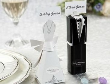 2000pcs/lot bride dress and groom suit shaped wedding favor candy box party gift boxes with name card used as place card
