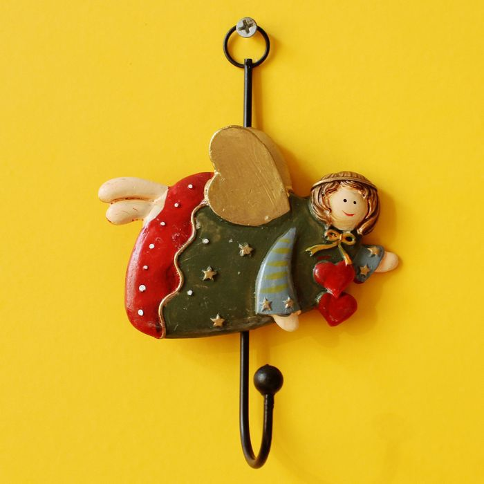 Creative Simulation Angel Girl Wall Hook Hanger Key Holder Organizer ...