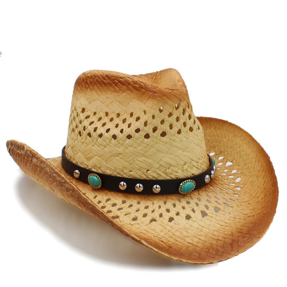 2019 Frauen Männer Sonne Sonne Hut Mit Punk Türkis Band Für Dame Gentleman Strand Sonne Sombrero Cowboy Hut Größe 58 Cm A0157 Die Neueste Mode