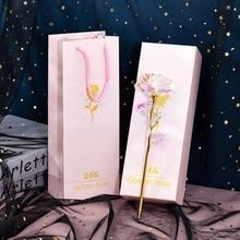 1 шт., имитация вечности, 24 K, Золотая фольга, розовый цветок, радуга, День Святого Валентина, романтический цветок, свадебный подарок, красивый светодиодный светящийся