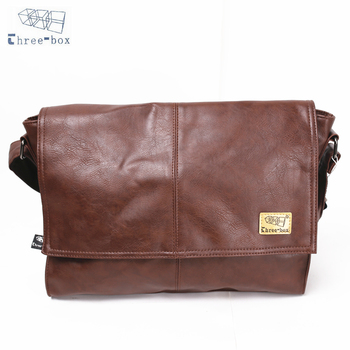 Three-Box Men Messenger Crossbody Bag Handbag PU Leather Business Shoulder Sling Satche8l Bags For Laptop Vintage Casual 7231 three box mens backpack fashion pu leather backpack leisure student school bag for women men vintage casual laptop business bags
