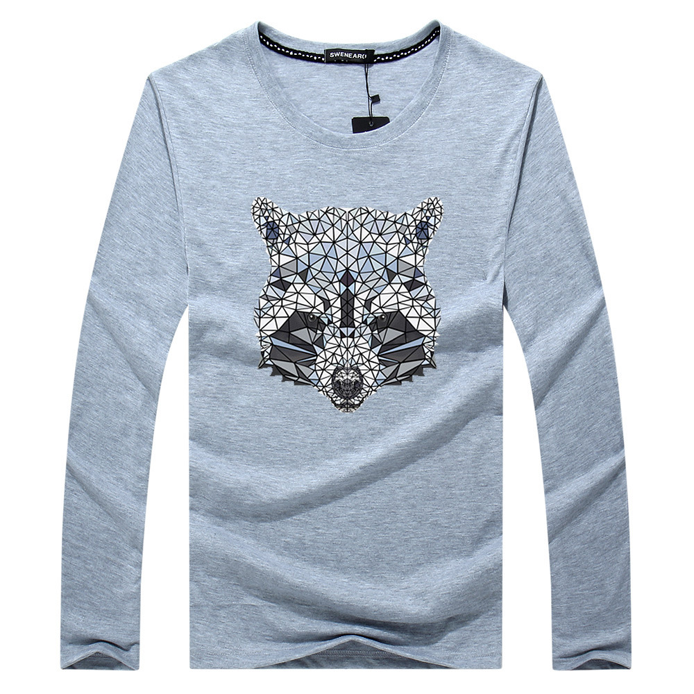 SWENEARO brands Mens Clothing Tee Shirts long Sleeve Tee Shirt Bear Diamond bear Printed Cartoon Casual Cotton Men T-Shirt 5XL