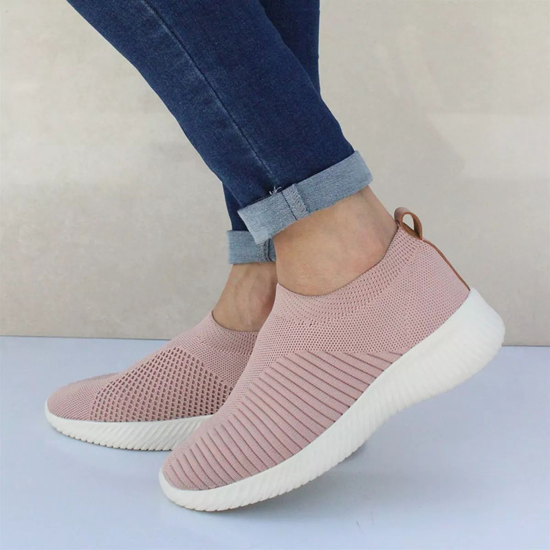 Women Sneakers Shoes 2019 Stretch Knitting Flats Women Vulcanize Shoes Mesh Casual Shoes Women Ladies Sneakers Sapato Feminino