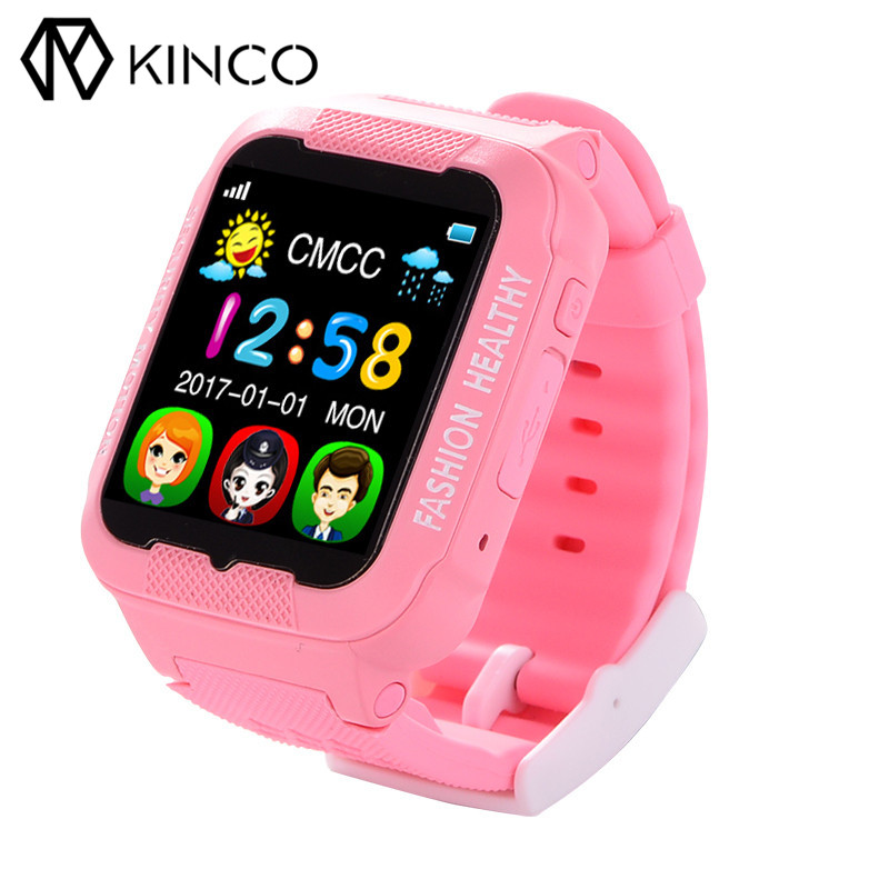 KINCO 1.54-inch GPS Wifi Pedometer Waterproof Tracking Position Anti Harassment Locating GSM Kids Smart Watch for IOS/Android