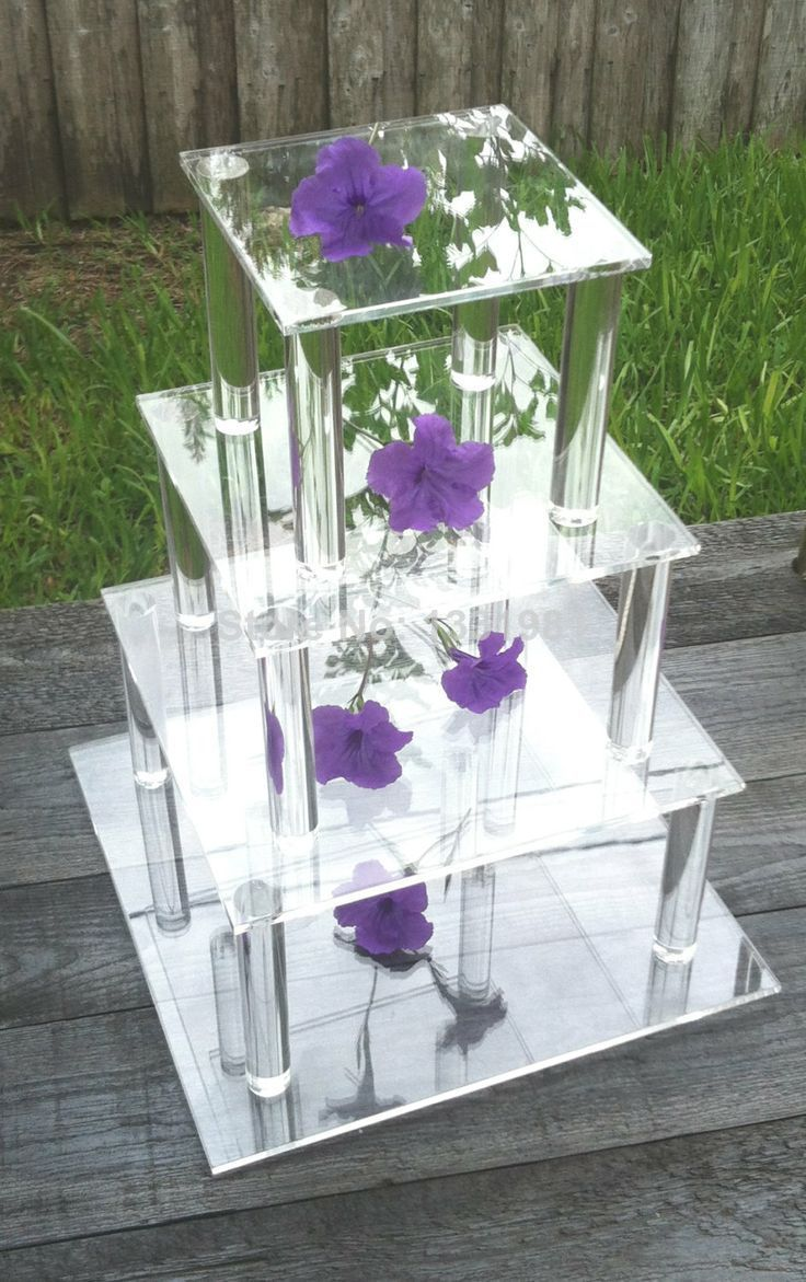 4 Tier Square Clear Acrylic Cupcake/Cake Stand kids party supplies