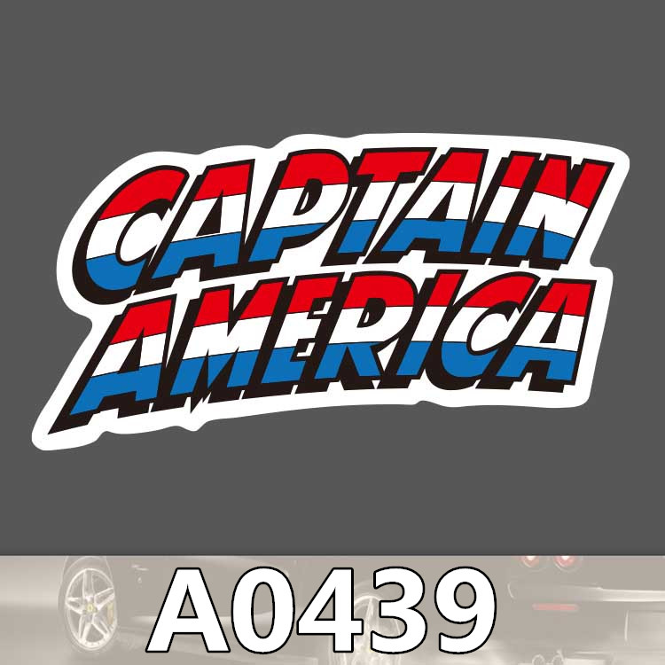 Bevle A0439 Captain America Word Waterproof Sticker for Cars Laptop Luggage Skateboard Graffiti Notebook Stickers