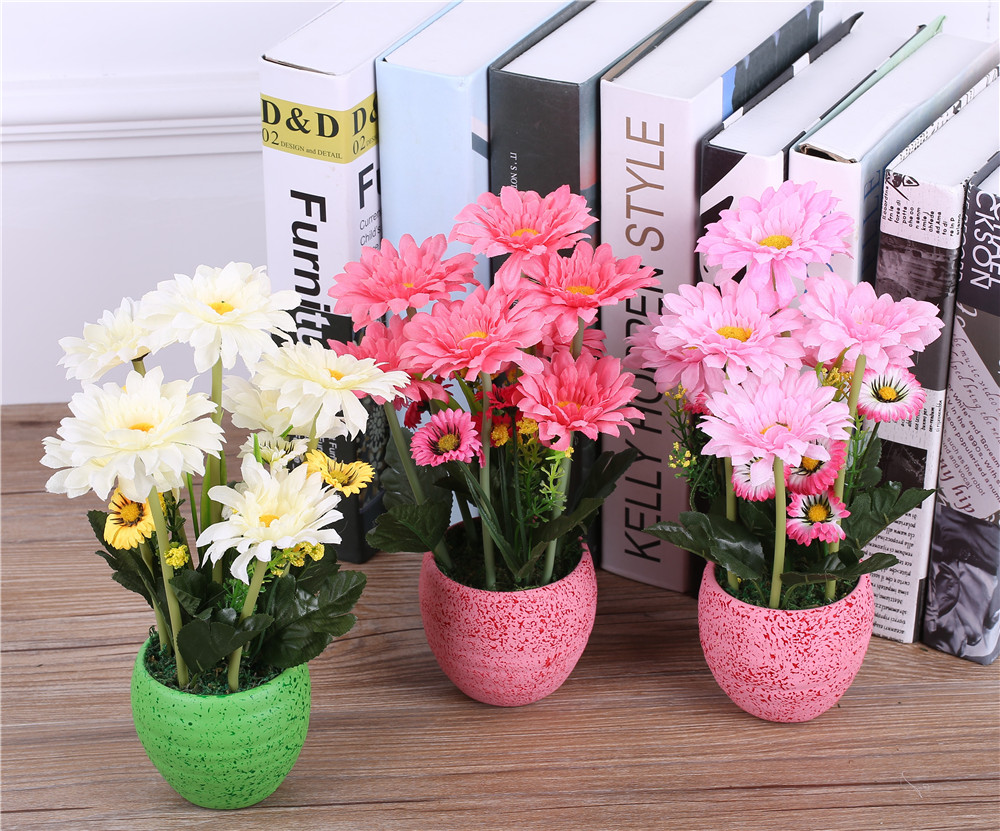 Silk Gerbera Daisy Flower Arrangements+Vase Artificial African ...