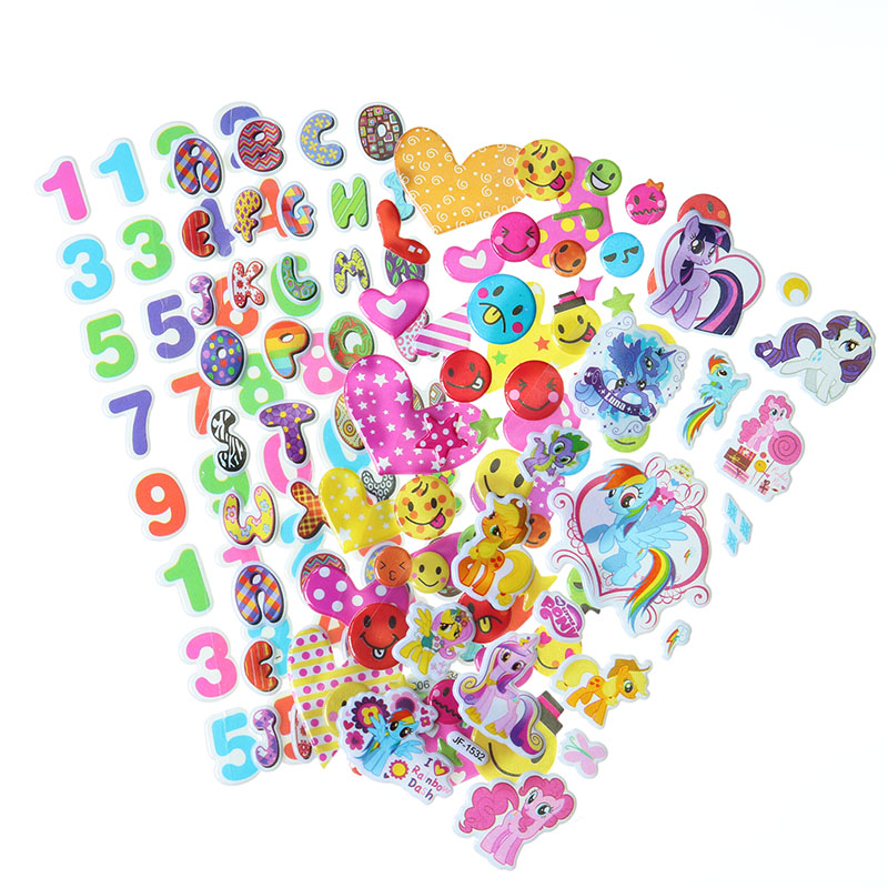 10pcs Cartoon Little Pony English Alphabet Numbers Bubble Stickers Phone Album Decoration Sticker Children Stationery Stickers