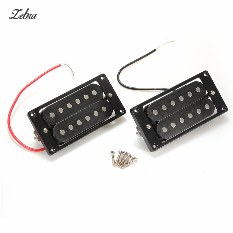 Zebra 2pcs Black Humbucker Double Coil Electric Guitar Pickups For Electric Guitar Part Replacement Parts / Bridge & Neck kmise electric guitar pickups humbucker double coil pickup bridge neck set guitar parts accessories black with chrome gold frame