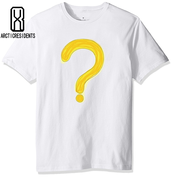 2018 Summer Yellow question mark Shirt Men Casual Cotton Short T-shirt Creative simple men T shirt O Neck Brand Cool tees XL